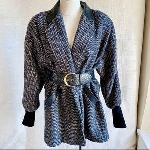 Vintage 80s M Hipster Stovepipe Tweed Jacket Coat